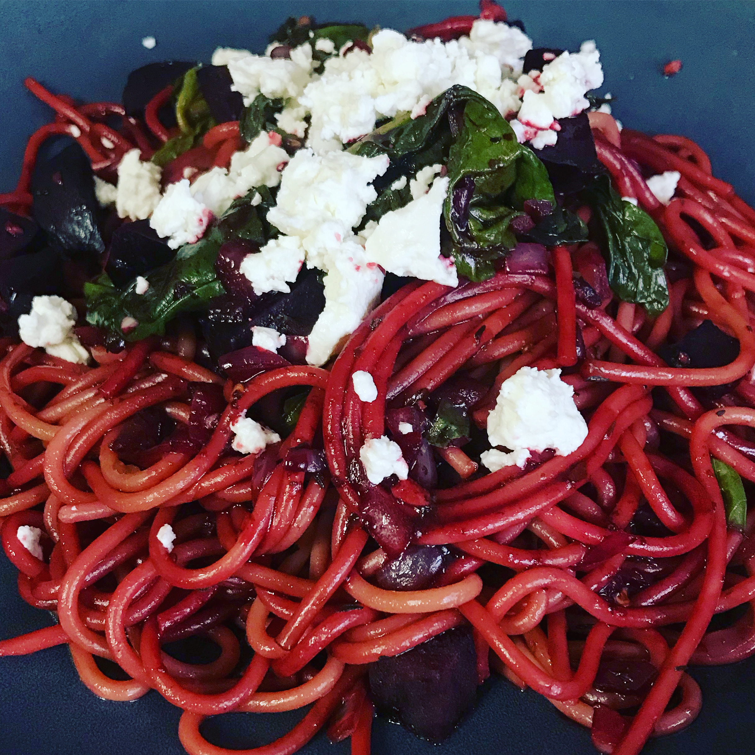 Beet and Spinach Spaghetti with Goat Cheese and Vinegar